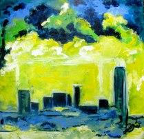 Cityscape Acrylic Painting on Canvas Asheville North Carolina Gabrielle Dearman