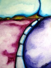 Futuristic Landscape Watercolor Painting on Cold Press Paper Asheville North Carolina Gabrielle Dearman