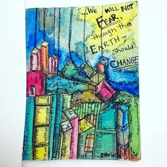 Futuristic Abstract Artwork Colored Pencil Drawing and Watercolor Painting on Paper Asheville North Carolina Gabrielle Dearman Cityscape