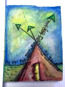Futuristic Abstract Artwork Colored Pencil Drawing and Watercolor Painting on Paper Asheville North Carolina Gabrielle Dearman Teepee