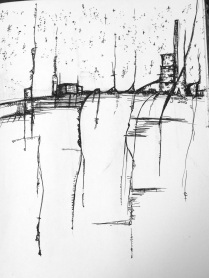 cityscape Futuristic Abstract Artwork Sketchbook drawing Pen Drawing Asheville North Carolina Gabrielle Dearman