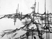 Futuristic Abstract Artwork Sketchbook drawing Pen Drawing Asheville North Carolina Gabrielle Dearman Futuristic Landscape