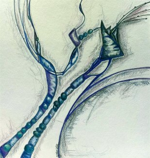 """""""Strengthened Resolve to Exist"""" : Colored Pencil on Paper : 12"""" x 12"""""""