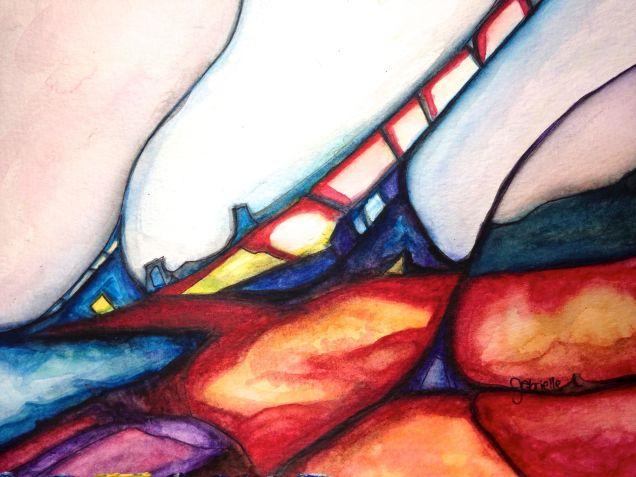 The Climb of Sincerity's Seeking Watercolor Painting on Paper Futuristic Landscape Asheville, North Carolina Gabrielle Dearman